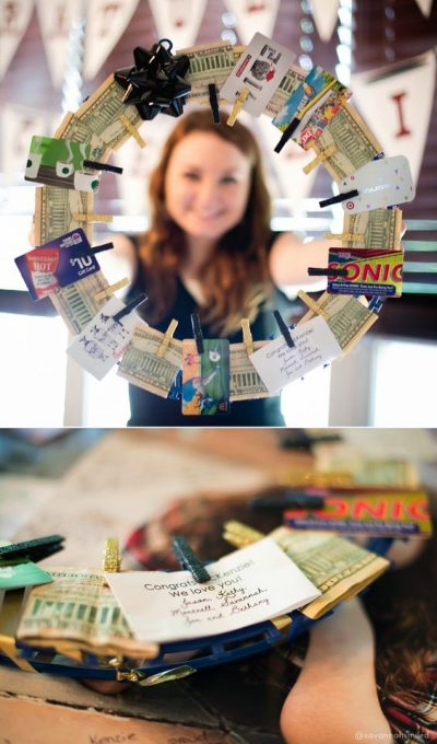 High school graduation money-wreath gift.: