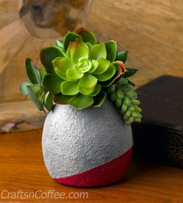 DIY Faux Concrete Succulent Planter
