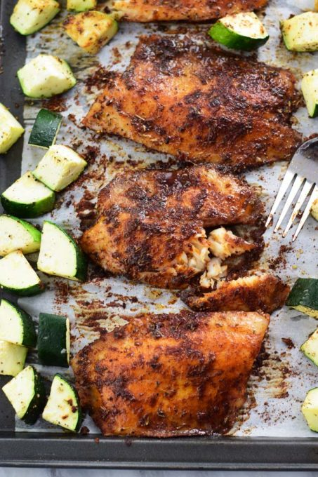 Sheet pan tilapia - a simple 30 MINS blackened tilapia with zucchini baked in sheet pan! Just one pan, EASY cleaning and a FUSS FREE delicious healthy meal!