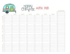 Happy Camper Menu Planner