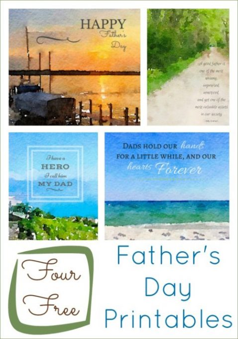 These four free Father's Day printables are ready to frame as a gift for dad. Watercolor images with inspirational quotes gentleman will admire.
