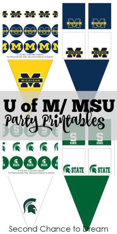 Second Chance to Dream: U of M/ MSU Party Printables #football #goblue