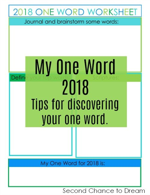 Second Chance to Dream: 2018 My One Word Worksheet #2018 #OneWord #success
